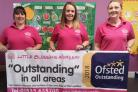 Celebrating the Ofsted report are, from left, nursery deputy manager Yvette Jenkins, Sarah Hepworth and nursery manager  Sarah Patrick