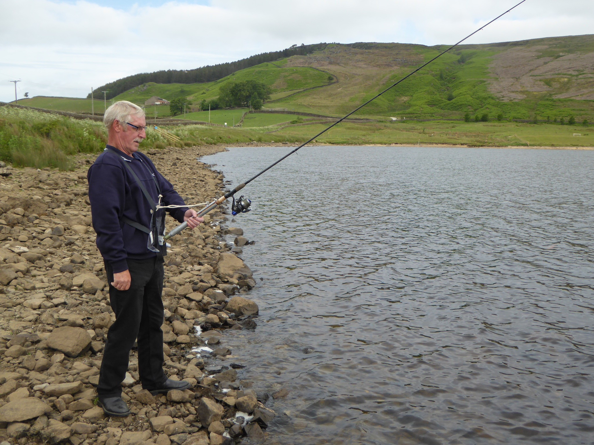 Mark Bradley with his new fishing aid