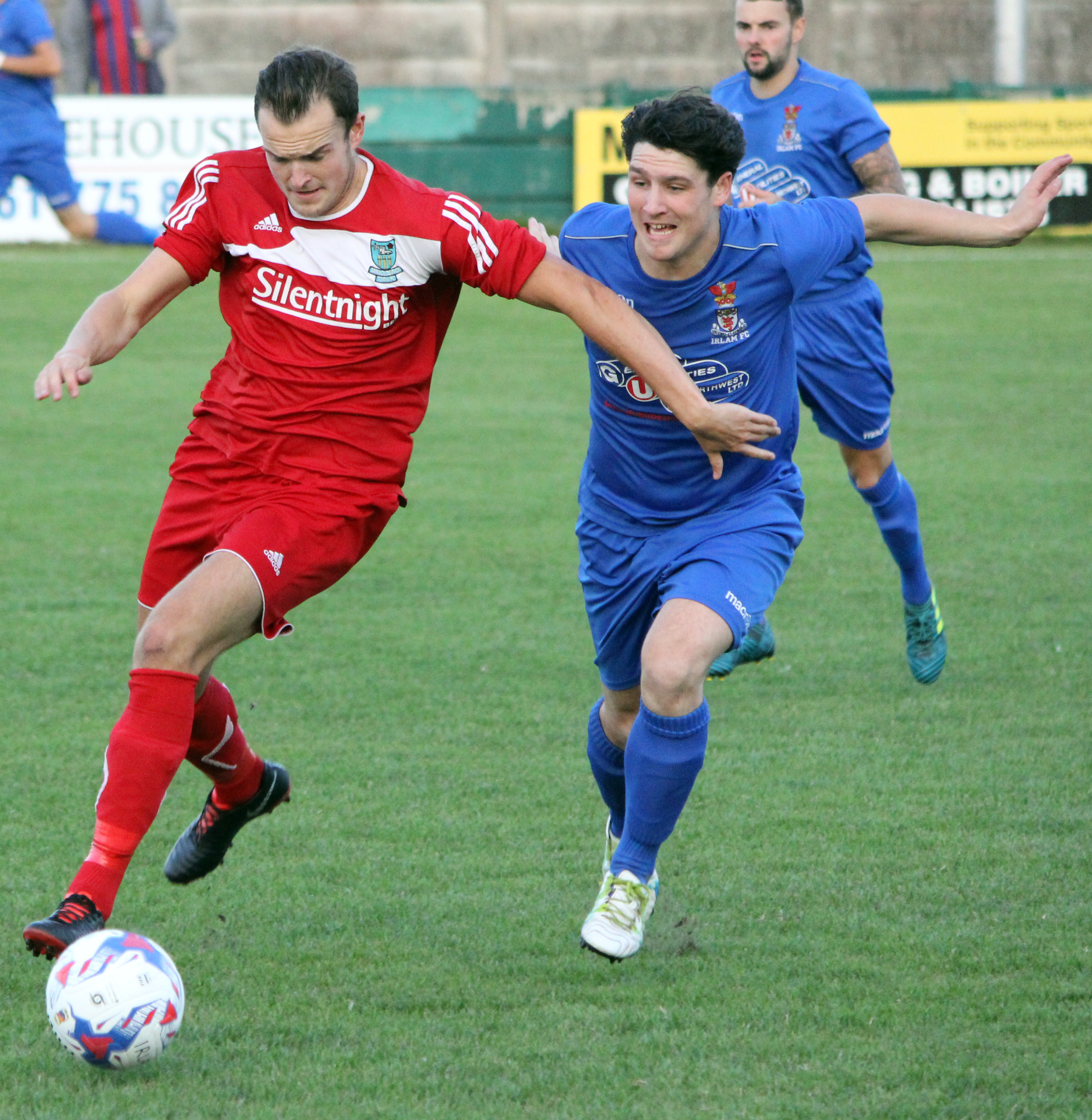 Barnoldswick Town's Andrew Hill, left, scored one goal and set up another at Abbey Hey. Picture: Peter Naylor
