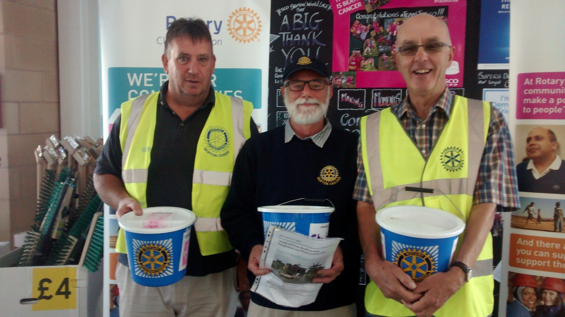 Tesco collection, from left:  Bob Marchant, Keith Brassington and Michael Thornett.
