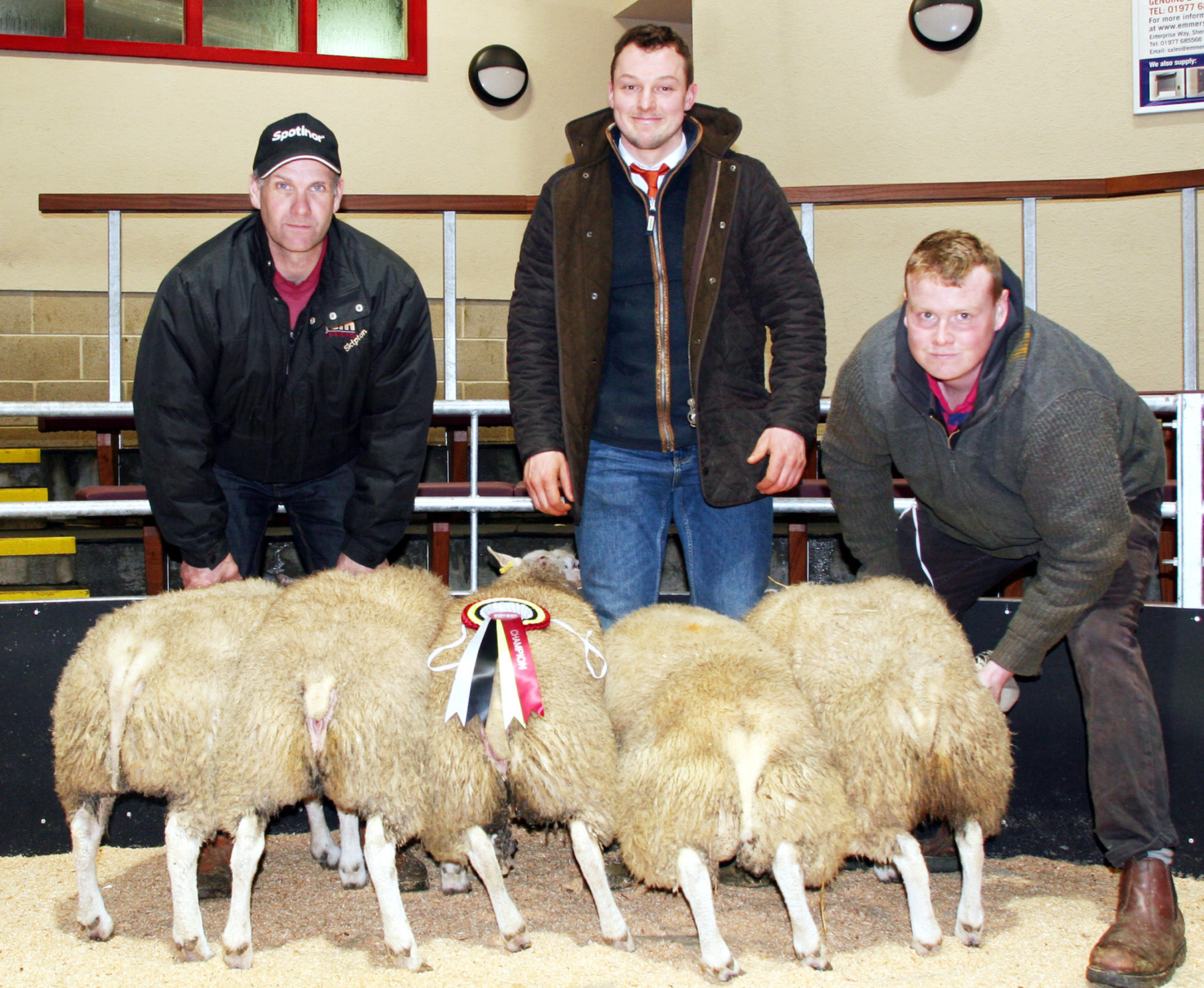 Rob Ellis is pictured right with the family's New Year prime lamb champions at Skipton, joined by judge and buyer George Cropper Jnr and Craven Cattle Marts' Andrew Fisher Picture by Moule Media Skipton.