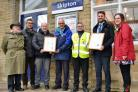 Rod Tickner, Vice chair Bentham Line; Dementia Champion Ian Davis; ACoRP's John Kitching; Station Manager Stephen Elrick from Skipton ticket office; Paul Kemp of Carlisle Support Services, Lance Parker, one of the gateline staff based at Skipton; Ca