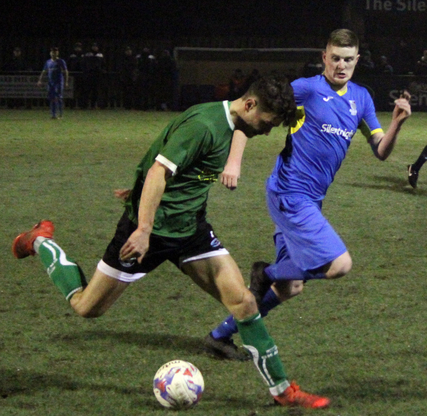 Jack Coop, right, shown here in action against Northwich Victoria last Tuesday, had some good chances for Barnoldswick Town on Saturday. Picture: Peter Naylor