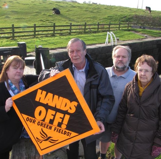Cllr Ken Hartley with colleagues campaigning against development at Greenberfield Locks.