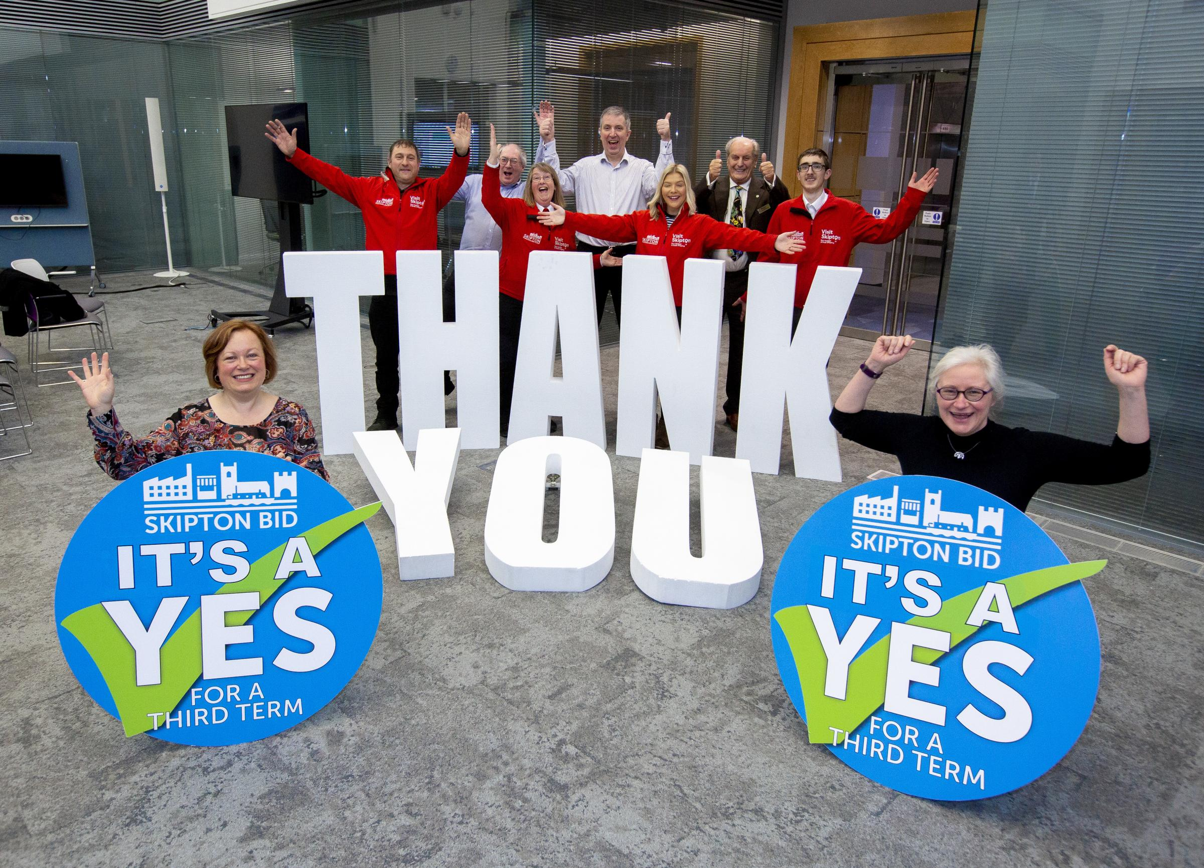 Officials celebrate the Yes vote to the BID's renewal (Picture Stephen Garnett)
