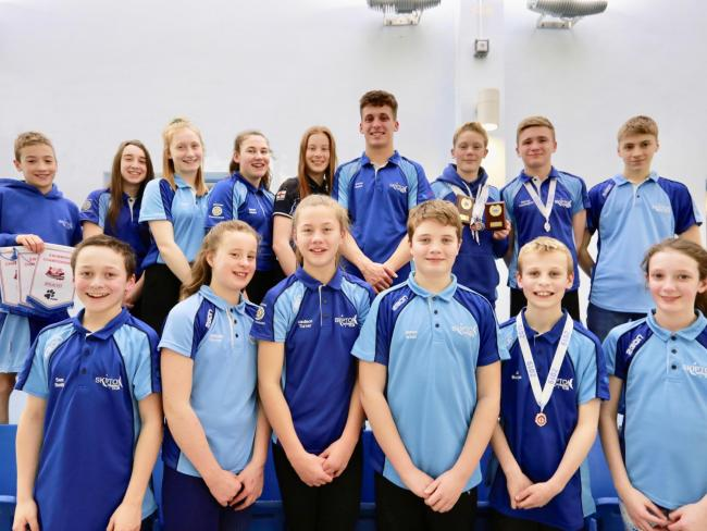 Members of Skipton Swimming Club competed at the Yorkshire Swimming Championships. They were top row, from left, William Oliver, Lily-May Pratt, Sophia Basaraba, Maisie Dunne, Madison Turner, Archie Dunne, Jack Jenkinson, Harvey Pennington and Archie Mint