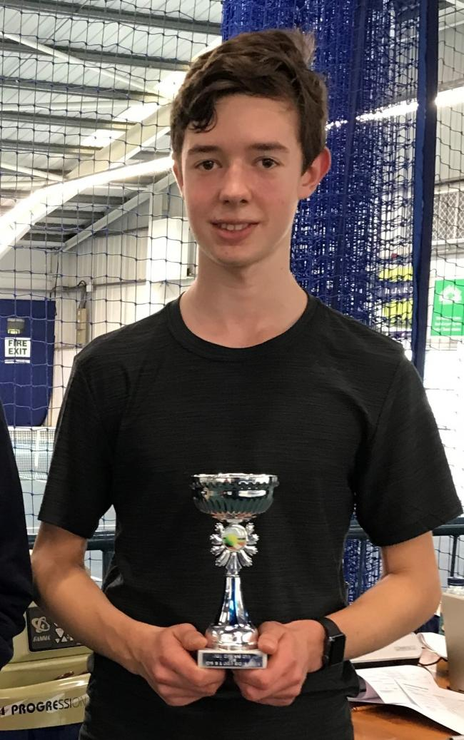 Thomas Horsley with a trophy he won at a tennis tournament in Hull