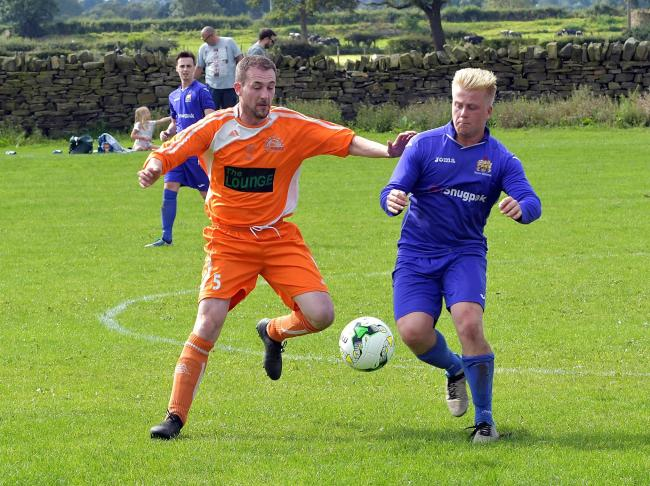 James Hitch, right, scored a goal for Silsden Whitestar in their 6-0 win on Saturday. Picture: Richard Leach