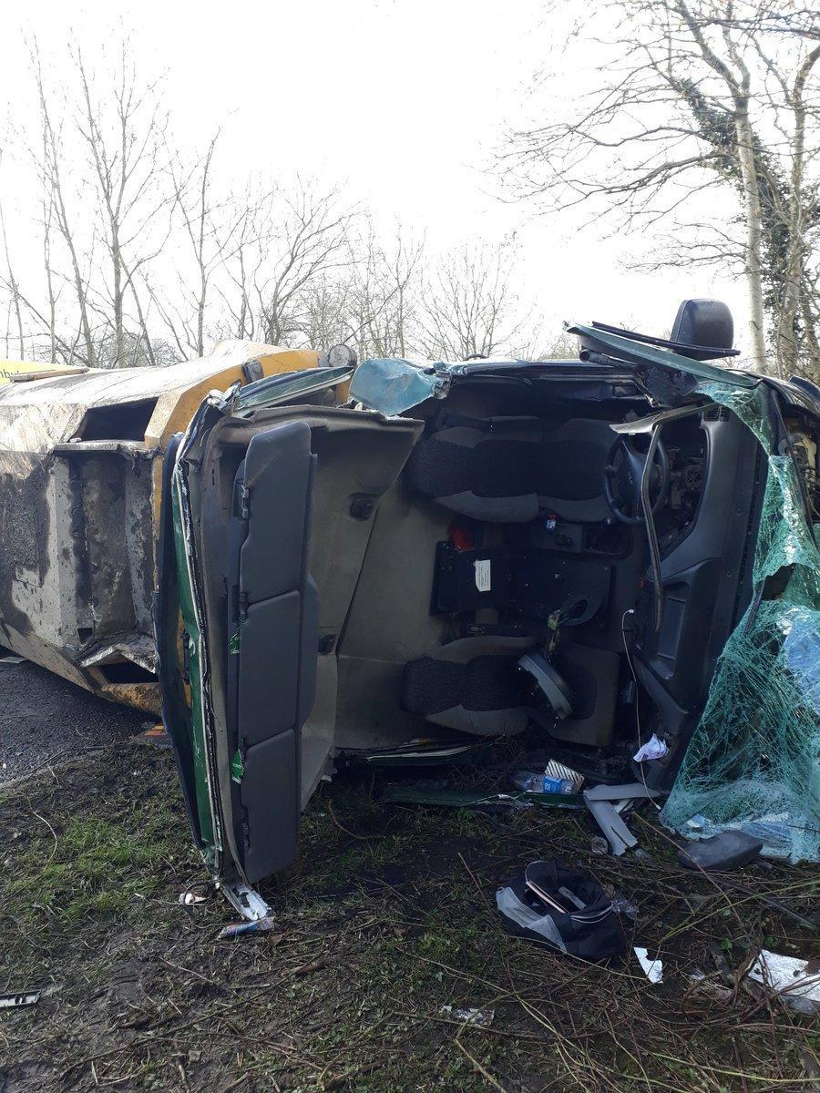 The overturned road sweeper near Austwick, picture North Yorkshire Fire and Rescue