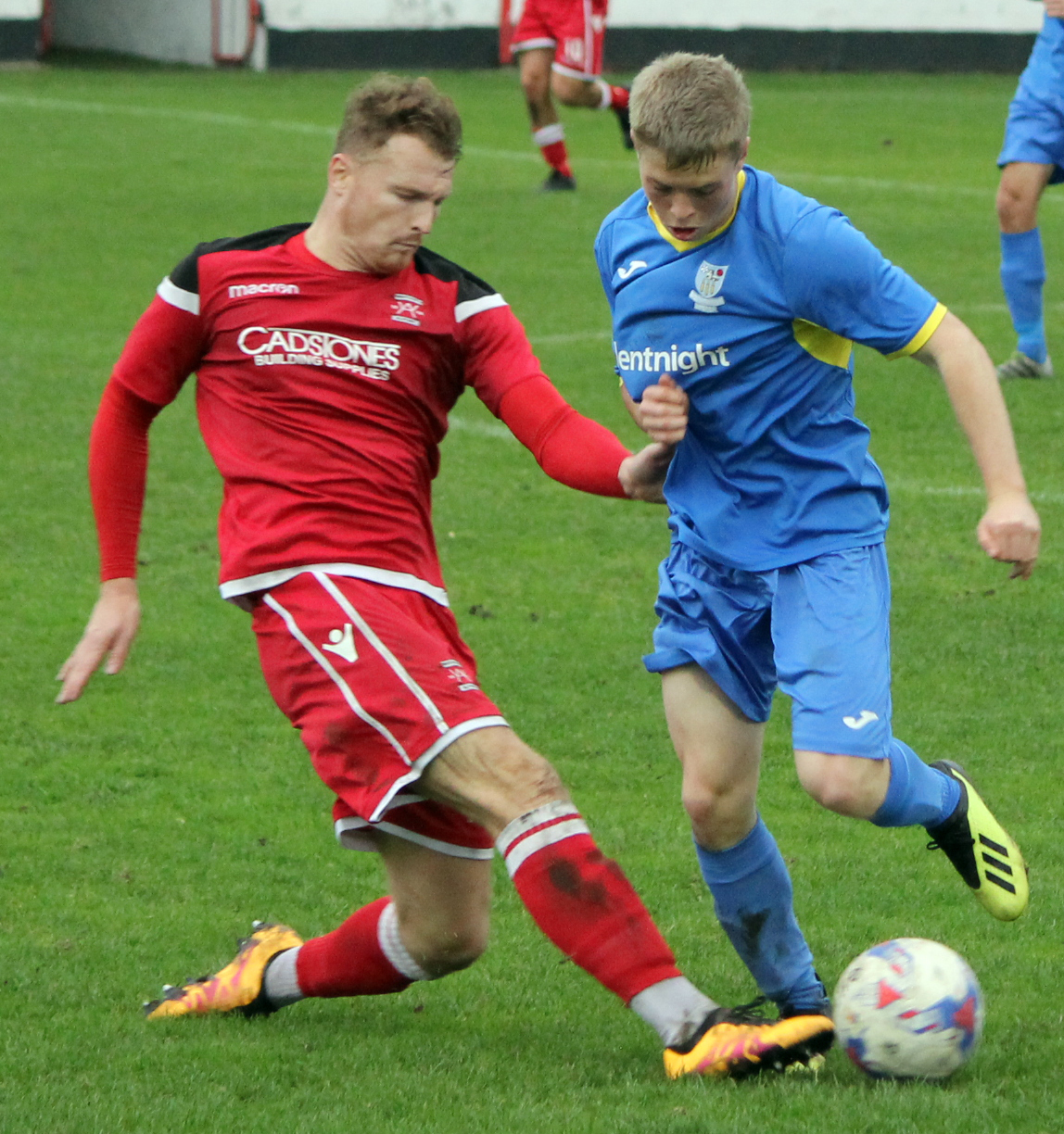 Ethan Kershaw, right, has returned to Barnoldswick Town on loan. Picture: Peter Naylor