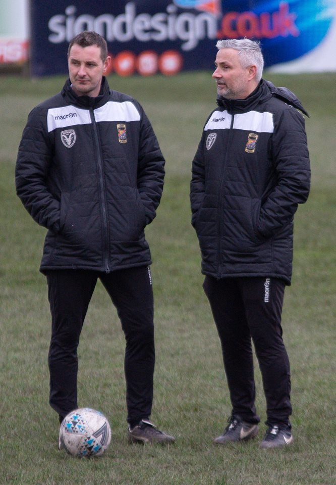 Steeton boss Roy Mason, right, saw his side beaten 3-2 by AFC Liverpool