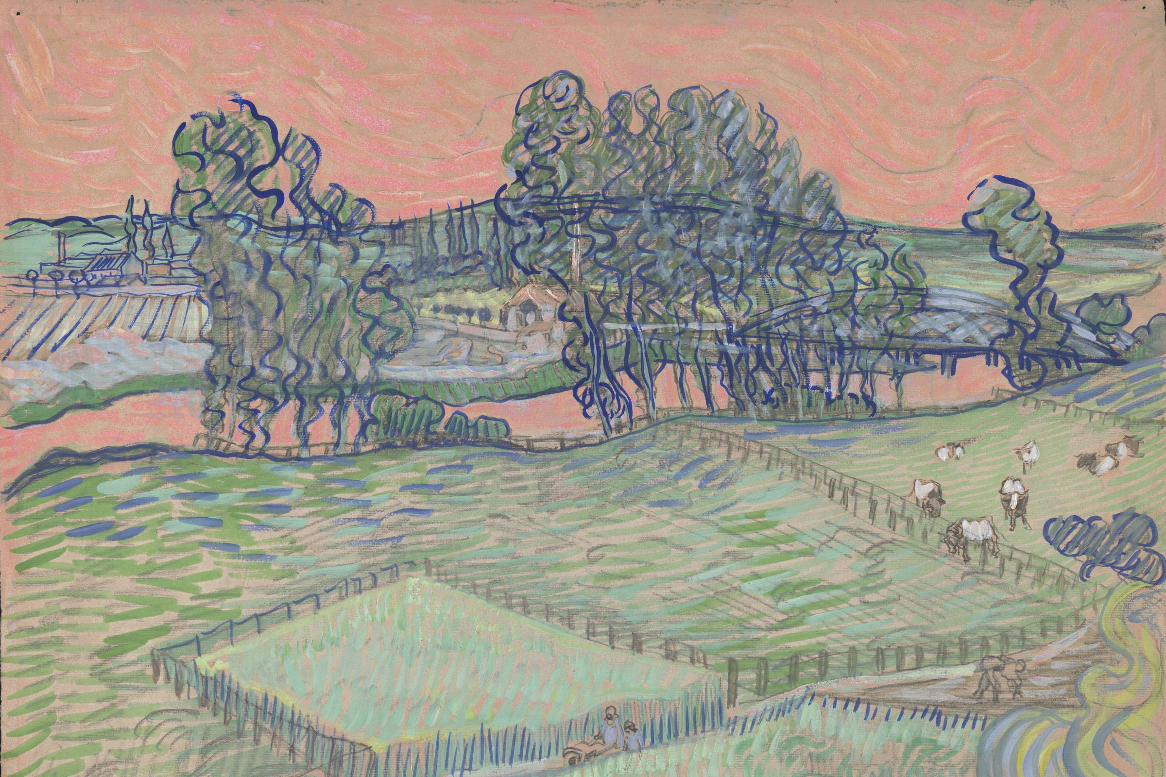 A digital reconstruction of Vincent Van Gogh's The Oise at Auvers