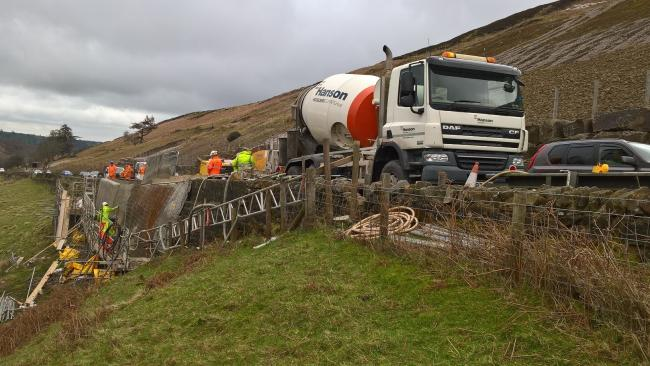 Repairs underway at Kex Gill in early 2019