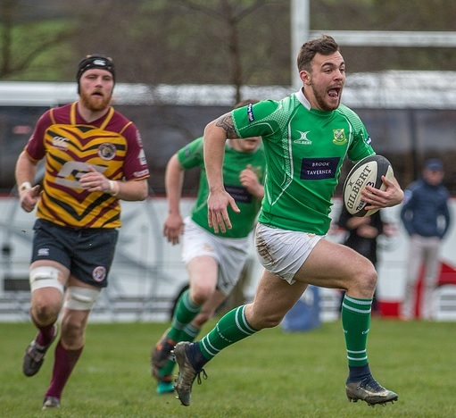 Wharfedale's Rian Hamilton runs in for a try. Picture: Ro Burridge