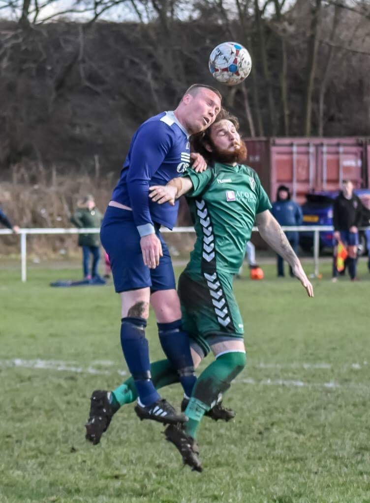Sam Rooke, right, scored to make it 3-3 but his Steeton side crashed to a 4-3 loss at Carlisle City