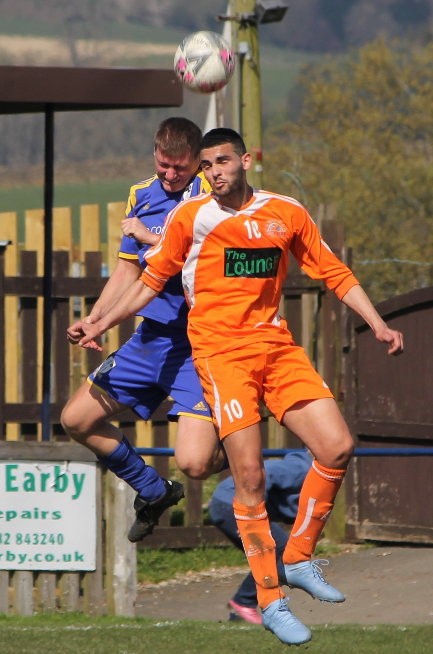 Wissam Badri, right, scored for AFC Barnoldswick on Saturday. Picture: Peter Naylor