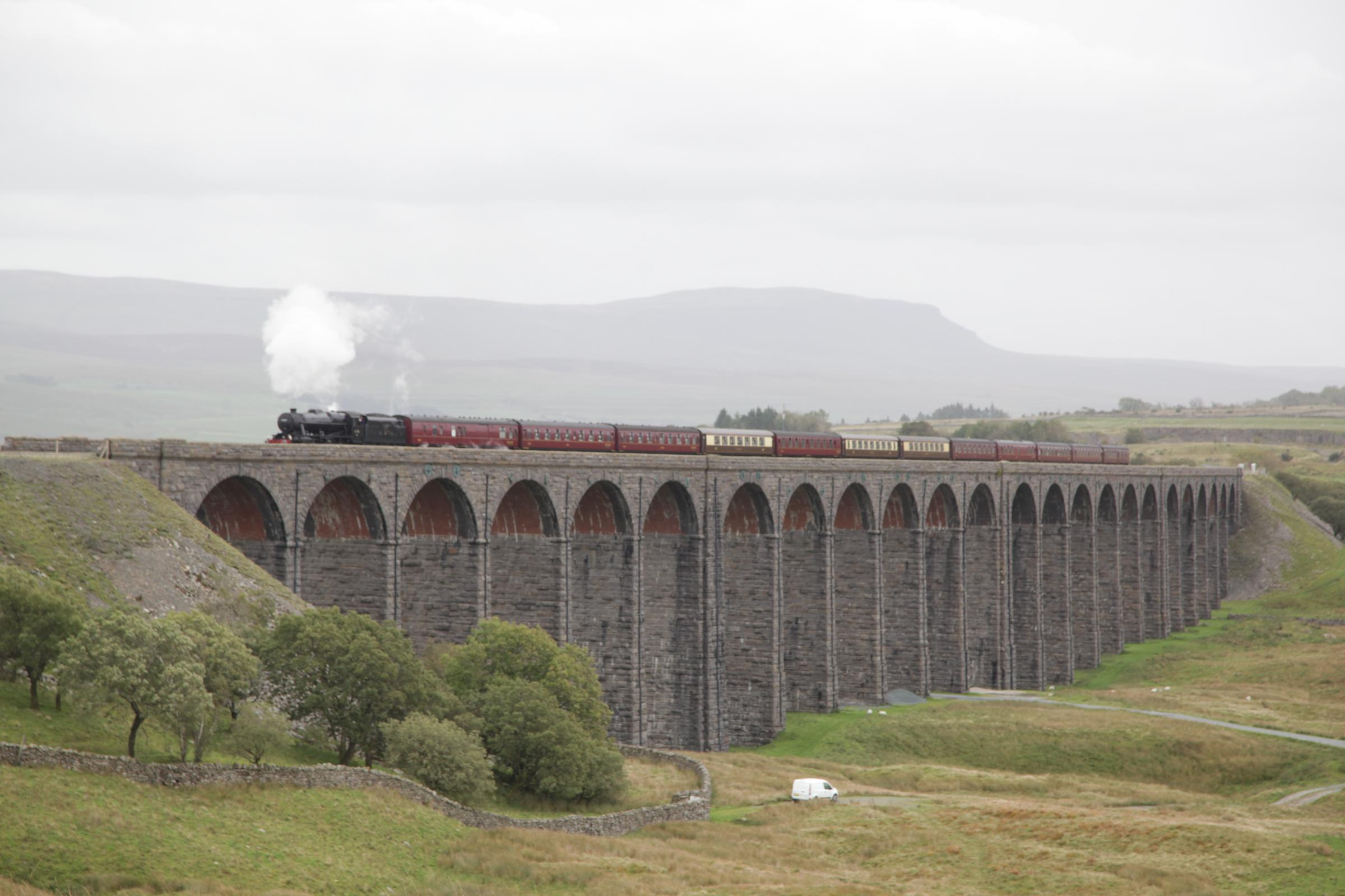 Ex-LMS Class 8F No. 48151 on Ribblehead Viaduct recently. Picture: Philip Winstanley