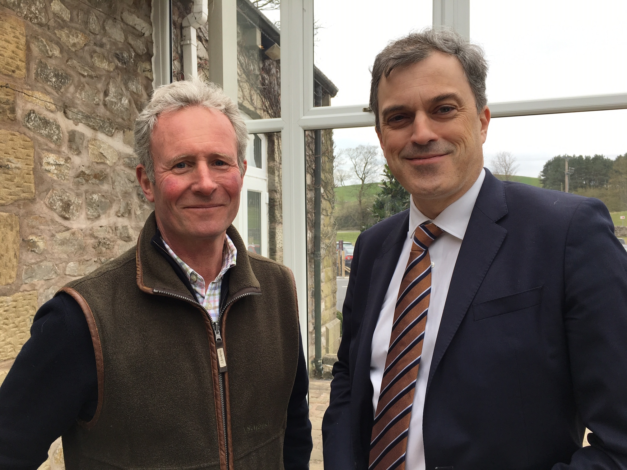Philip Farrer, left, and Julian Smith, Skipton MP, discuss Clapham Primary School