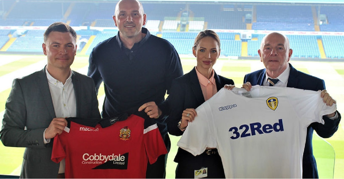Silsden manager Danny Forrest, left, lines up at Elland Road after his club signed a partnership with Leeds United Sports College as part of the Elite Player Development Scholarship