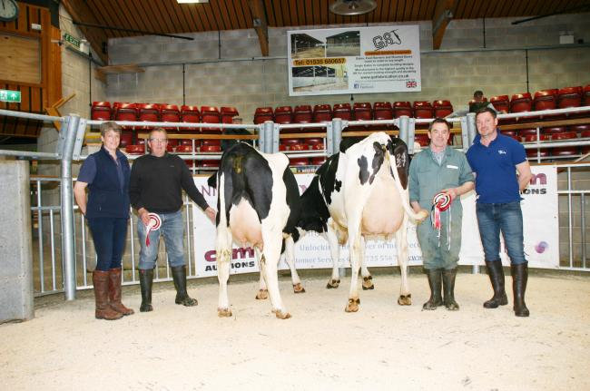 Pictured with the frontrunners at the latest auction are, from left, Helen Whittaker, of National Milk Records, reserve champion, Richard Close, champion Brian Moorhouse and judge Sam Naylor        Picture by Moule Media, Skipton