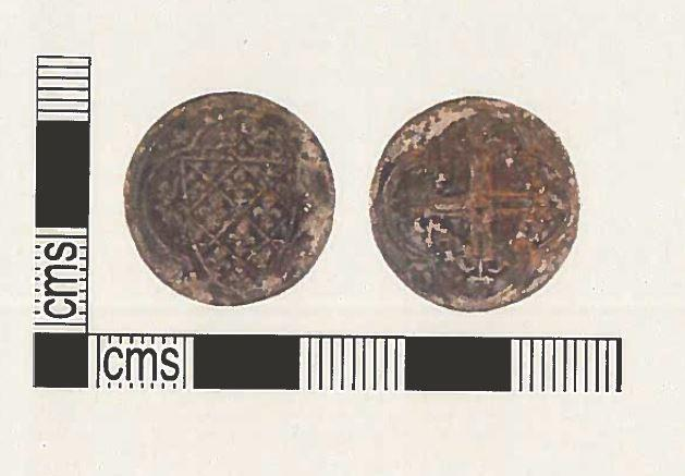 Images of the Medieval jetton found in Rylstone