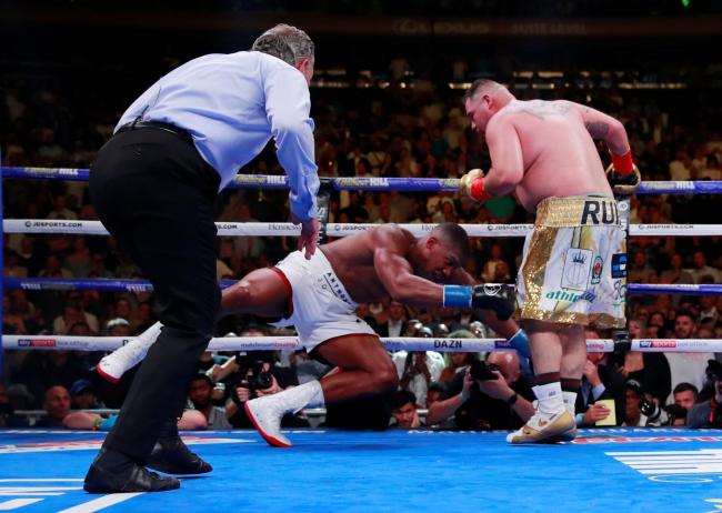 Anthony Joshua is knocked to the ground by Andy Ruiz Jr. Picture: Action Images