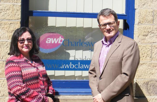 Declan Hayes, Head of Residential Property at AWB Charlesworth Solicitors with new recruit Carole Conroy