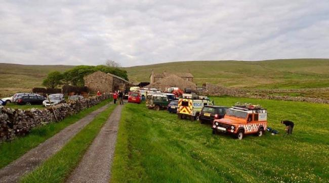 Rescuers at Rough Close Farm, the access point to Fountains Fell. Picture: John Helm